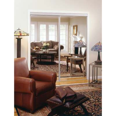 Erias 4050 Series 71 In. W. x 80-1/2 In. H. Bright White Top Hung Mirrored Bypass Door
