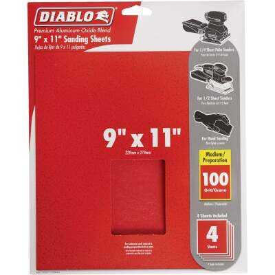 Diablo 9 In. x 11 In. 100 Grit Medium Sandpaper (4-Pack)