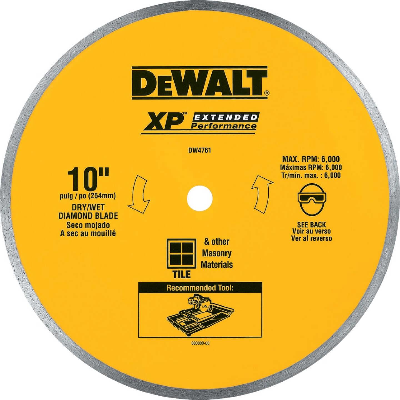 DeWalt Extended Performance 10 In. Continuous Rim Dry/Wet Cut Tile Diamond Blade Image 1
