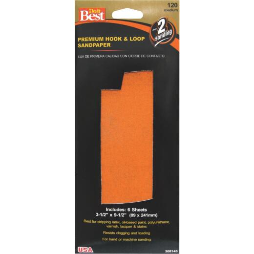 Do it Best 3-1/2 In. x 9-1/2 In. 120G Premium Hook And Loop Sandpaper (6 Count)
