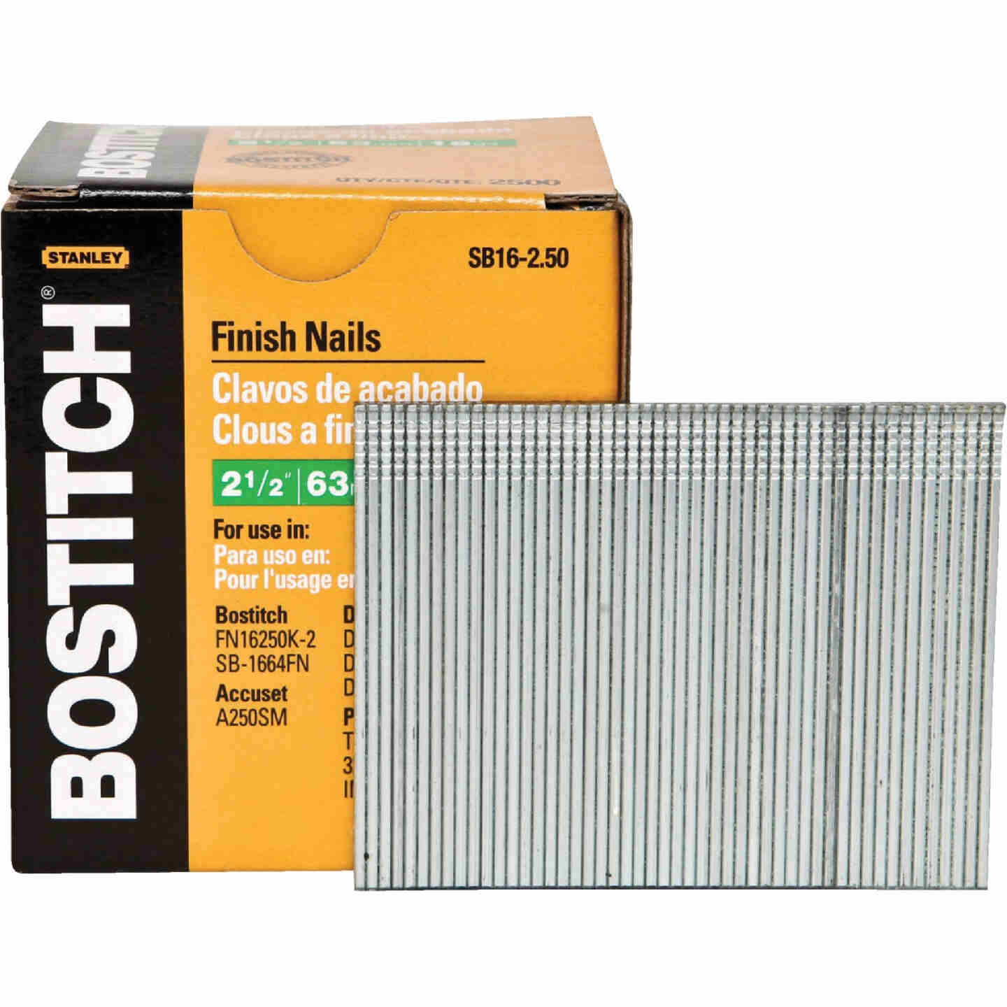 Bostitch 16-Gauge Coated Straight Finish Nail, 2-1/2 In. (2500 Ct.) Image 1