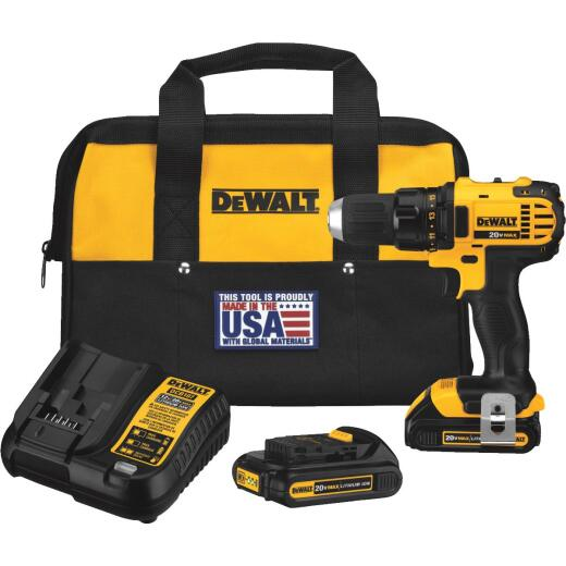 DeWalt 20 Volt MAX Lithium-Ion 1/2 In. Compact Cordless Drill Kit