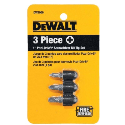 DeWalt 3-Piece Pozi-Drive Insert Screwdriver Bit Set