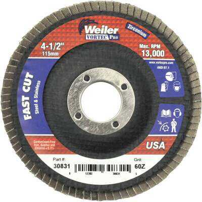 Weiler Vortec 4-1/2 In. x 7/8 In. 60-Grit Type 29 Angle Grinder Flap Disc