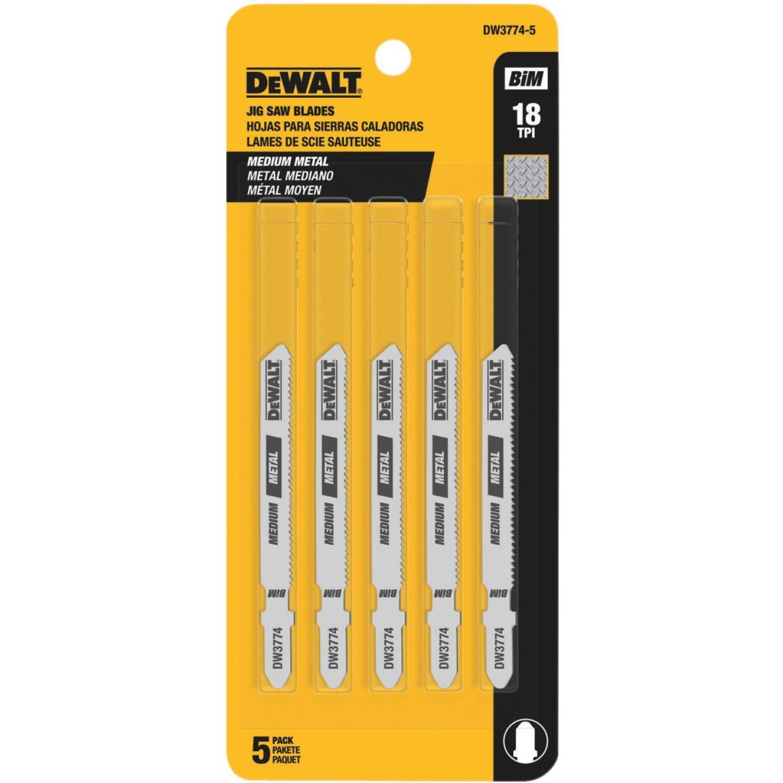 DeWalt T-Shank 3 In. x 18 TPI High Carbon Steel Jig Saw Blade, Medium Metal (5-Pack) Image 2