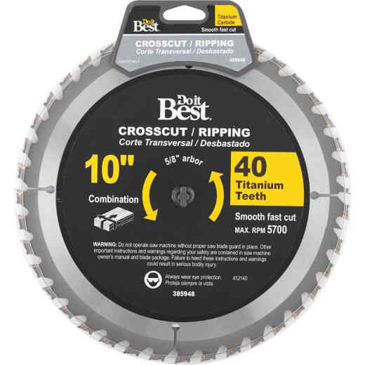 Do it Best Professional 10 In. 40-Tooth Crosscut/Ripping Circular Saw Blade