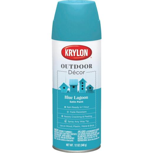 Krylon Outdoor Decor 12 Oz Satin Alkyd Spray Paint, Blue Lagoon