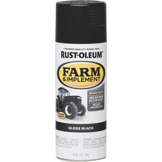 Rust-Oleum 12 Oz. Gloss Black Farm & Implement Spray Paint