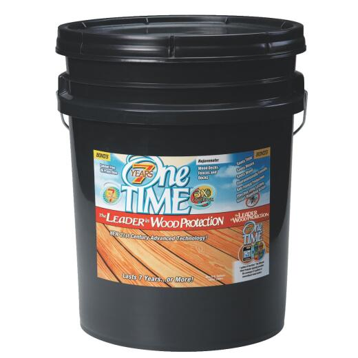 One TIME Clove Brown Wood Preservative, Protector & Stain All In One, 5 Gal.