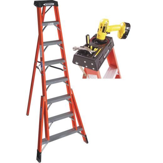 Werner 8 Ft. Fiberglass Tripod Step Ladder with 300 Lb. Load Capacity Type IA Ladder Rating